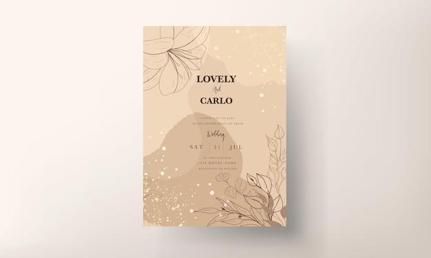 Tarjeta de invitación de boda simple y elegante floral