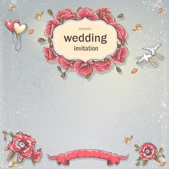 Tarjeta de invitación de boda para su texto sobre un fondo gris con amapolas, globos y palomas