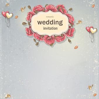Tarjeta de invitación de boda para su texto sobre un fondo gris con amapolas y globos