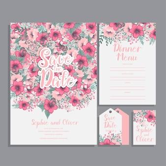 Tarjeta de invitación de boda suite con flor