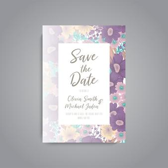 Tarjeta de invitación de boda suite con plantilla de flores