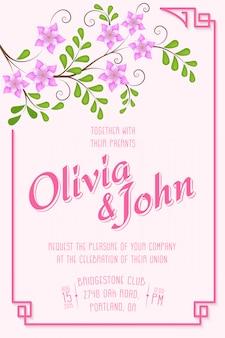 Tarjeta de invitación de boda. tarjeta de invitación con elementos florales en el fondo.