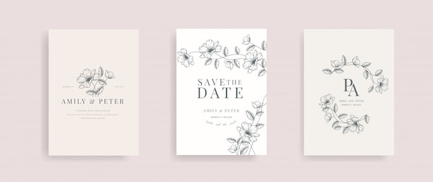 Tarjeta de invitación de boda con vector floral dibujado a mano.