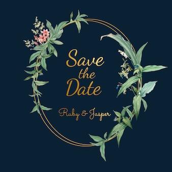 Tarjeta de invitación de boda con vector de hojas verdes