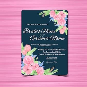 Tarjeta de invitación de boda de la vendimia con flores magníficas
