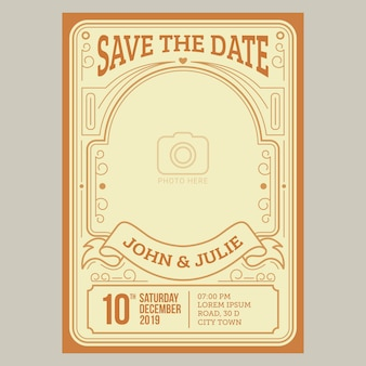 Tarjeta de invitación de boda de la vendimia