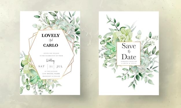 Tarjeta de invitación de boda verde de lujo floral