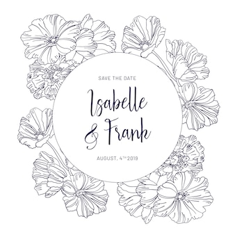 Tarjeta de invitación de boda vintage con flores azules