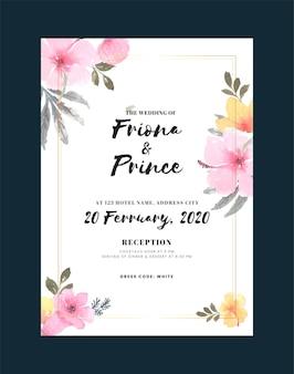 Tarjeta de invitación de boda vintage con flores y hojas
