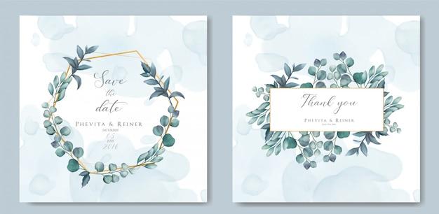 Tarjeta de invitación de boda vintage con hojas y marco dorado