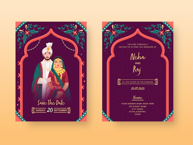 Tarjeta de invitación de boda vintage o diseño de plantilla con carácter de pareja india en la vista frontal y posterior.