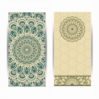 Tarjeta de invitación de boda vintage con patrón de mandala, patrón de mandala floral y adornos. diseño oriental