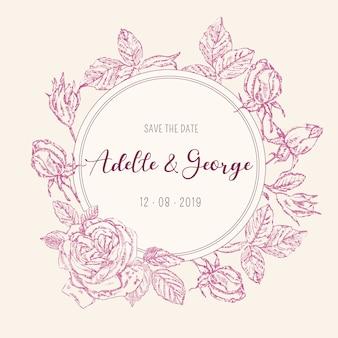 Tarjeta de invitación de boda vintage con rosas