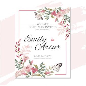 Tarjeta de invitación de boda
