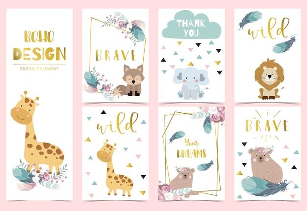 Tarjeta de invitación boho de oro rosa de geometría con rosa, hoja, corona, pluma, oso, zorro y marco
