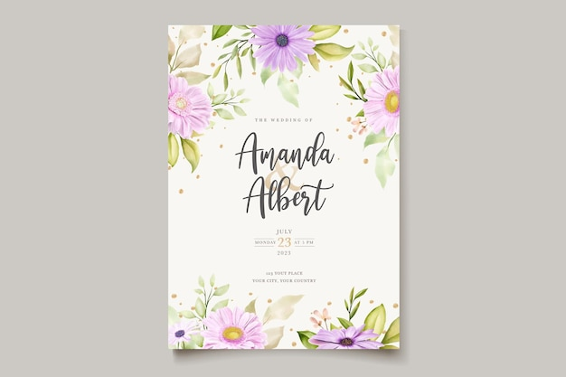 Tarjeta de invitación de crisantemo acuarela