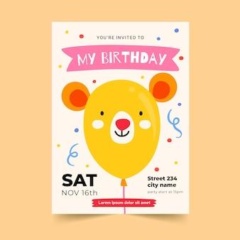 Tarjeta de invitación de cumpleaños dibujada a mano