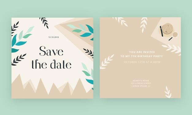 Tarjeta de invitación de cumpleaños con fondo de aventura de selva