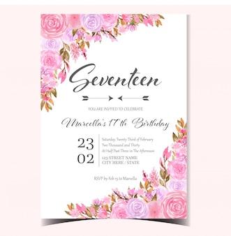 Tarjeta de invitación de cumpleaños linda con hermosas rosas rosas y moradas