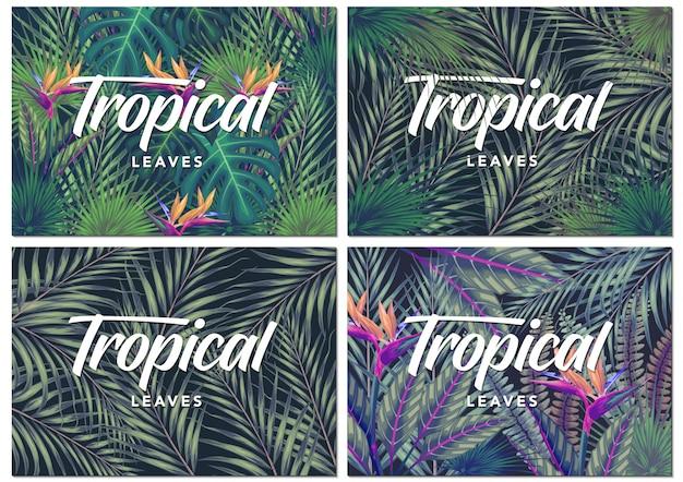 Tarjeta de invitación con exóticas hojas tropicales de fondo