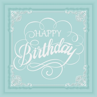 Tarjeta de invitación de feliz cumpleaños vector elegante con y marco con elementos florales y hermosa tipografía.