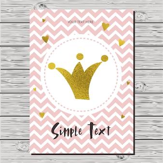 Tarjeta de invitación de la fiesta de bienvenida al bebé con una corona.