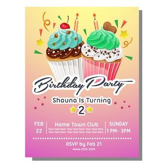 Tarjeta de invitación de fiesta de cumpleaños con pastel de muffin rebanada dulce