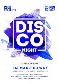Tarjeta de invitación de fiesta disco night o diseño de plantilla con efecto de trazo de pincel y detalles del evento.