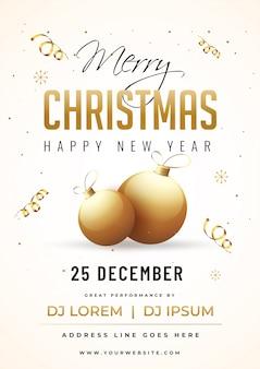 Tarjeta de invitación de fiesta de feliz navidad y feliz año nuevo con adornos dorados y detalles de eventos en blanco.