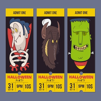 Tarjeta de invitación de fiesta de feliz noche de halloween, drácula, frank y hombre lobo.