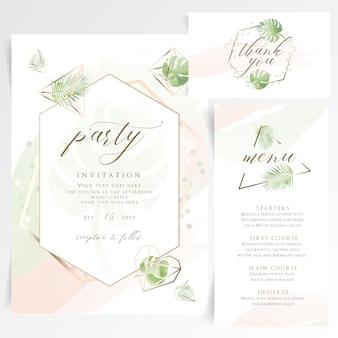 Tarjeta de invitación de fiesta floral geométrica con menú de mesa