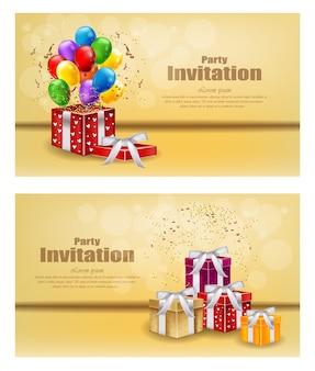 Tarjeta de invitación de fiesta de globos y regalos