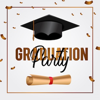 Invitación De Fiesta De Graduación Elegante Dorada Vector