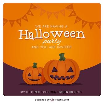 Tarjeta de invitación de la fiesta de halloween con calabazas