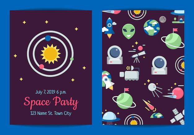 Tarjeta de invitación de fiesta de iconos de espacio plano