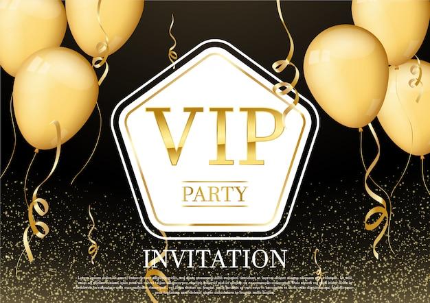 Tarjeta de invitación de fiesta lujosa y elegante con hermosas cintas confeti dorado brillo y globo dorado