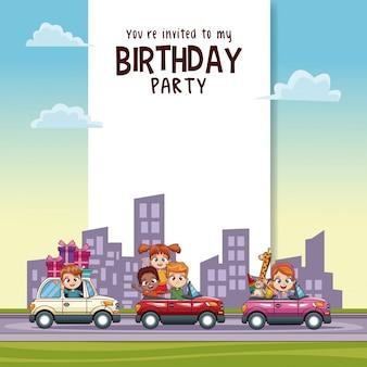 Tarjeta De Invitación De Cumpleaños Para Niños Vector Premium