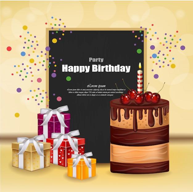 Tarjeta de invitación de fiesta con tortas y cajas de regalo