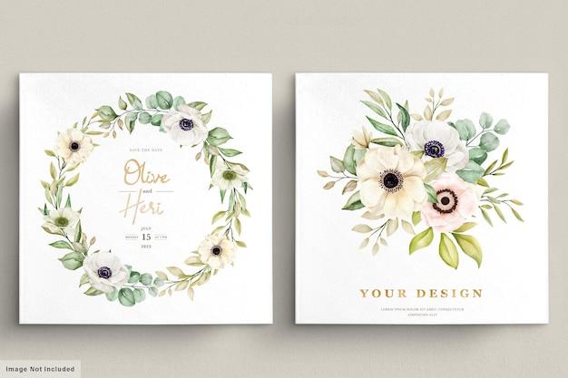 Tarjeta de invitación floral acuarela amapola anémona