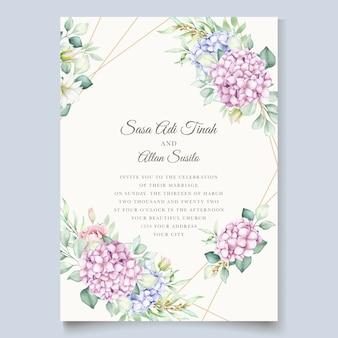 Tarjeta de invitación floral acuarela dibujada a mano