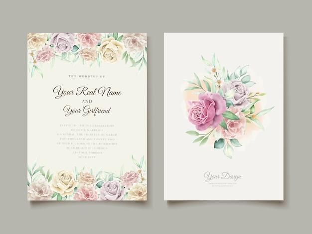 Tarjeta de invitación floral acuarela