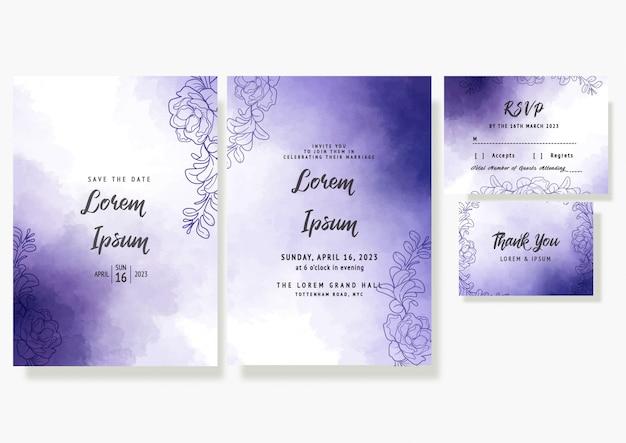 Tarjeta de invitación floral de boda púrpura guardar la fecha plantilla decorativa rsvp en acuarelas