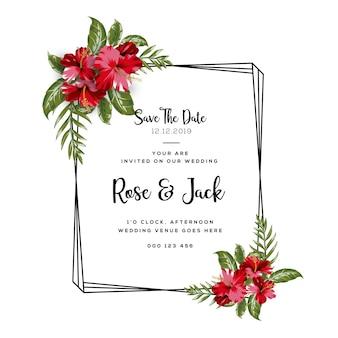 Tarjeta de invitación floral de la boda