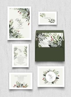 Tarjeta de invitación floral y colección de cartas.