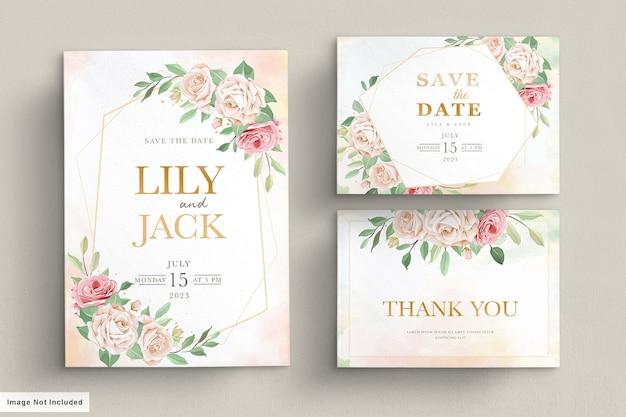 Tarjeta de invitación floral dibujada a mano