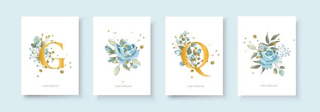 Tarjeta de invitación floral dorada para bodas con sobre el diseño minimalista de la fecha con flores de color azul marino, flor azul marino y salpicaduras de oro. estilo decorativo botánico elegante vector acuarela de estilo