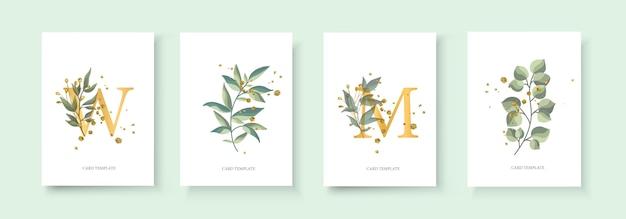 Tarjeta de invitación floral dorada para bodas con sobre el diseño minimalista de fecha con hierbas de hojas verdes tropicales y salpicaduras de oro. estilo decorativo botánico elegante vector acuarela de estilo