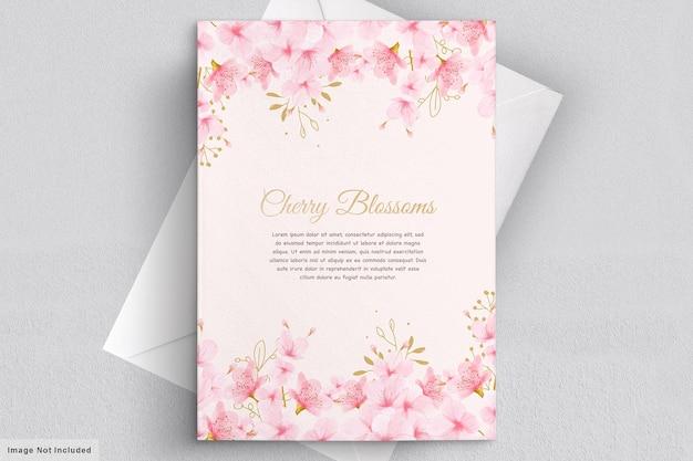 Tarjeta de invitación floral de flor de cerezo de acuarela
