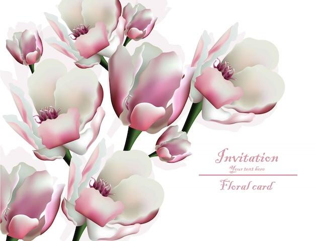 Tarjeta de invitación floral de flor de primavera