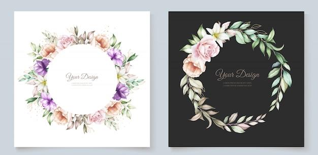Tarjeta de invitación floral y hojas dibujadas a mano